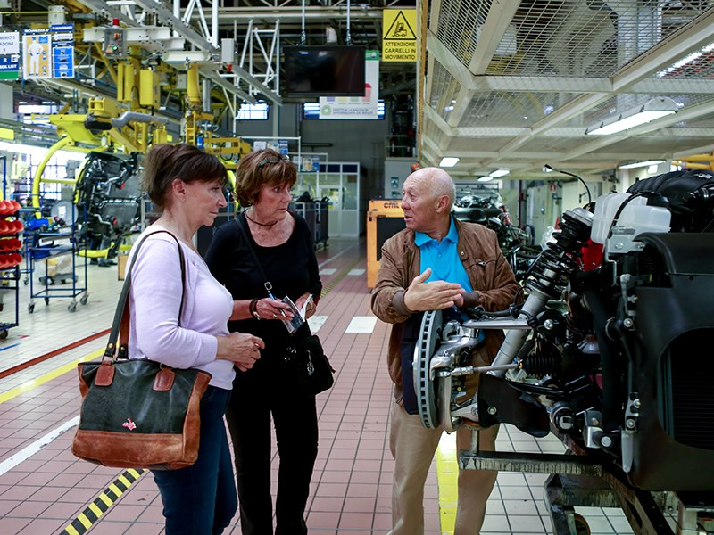 Lyn St. James and Joanna Villeneuve have visited the Maserati plant in Modena