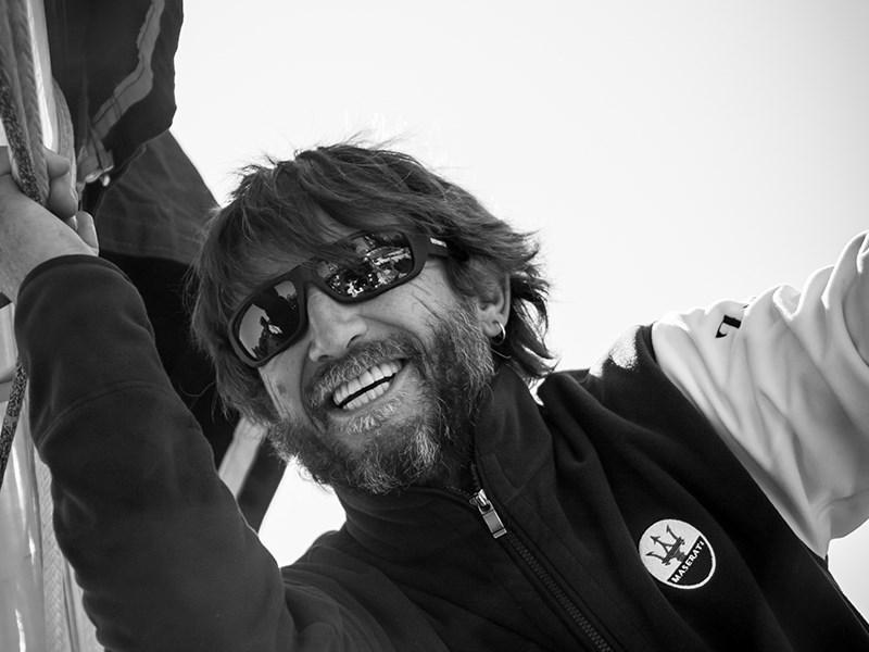 Giovanni Soldini and the Maserati Multi 70 crew in the English Channel