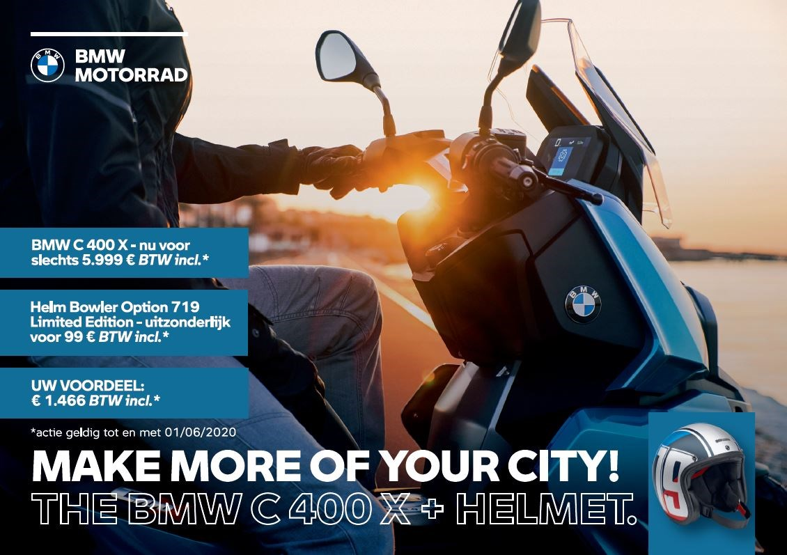 The BMW C 400 X + Helmet