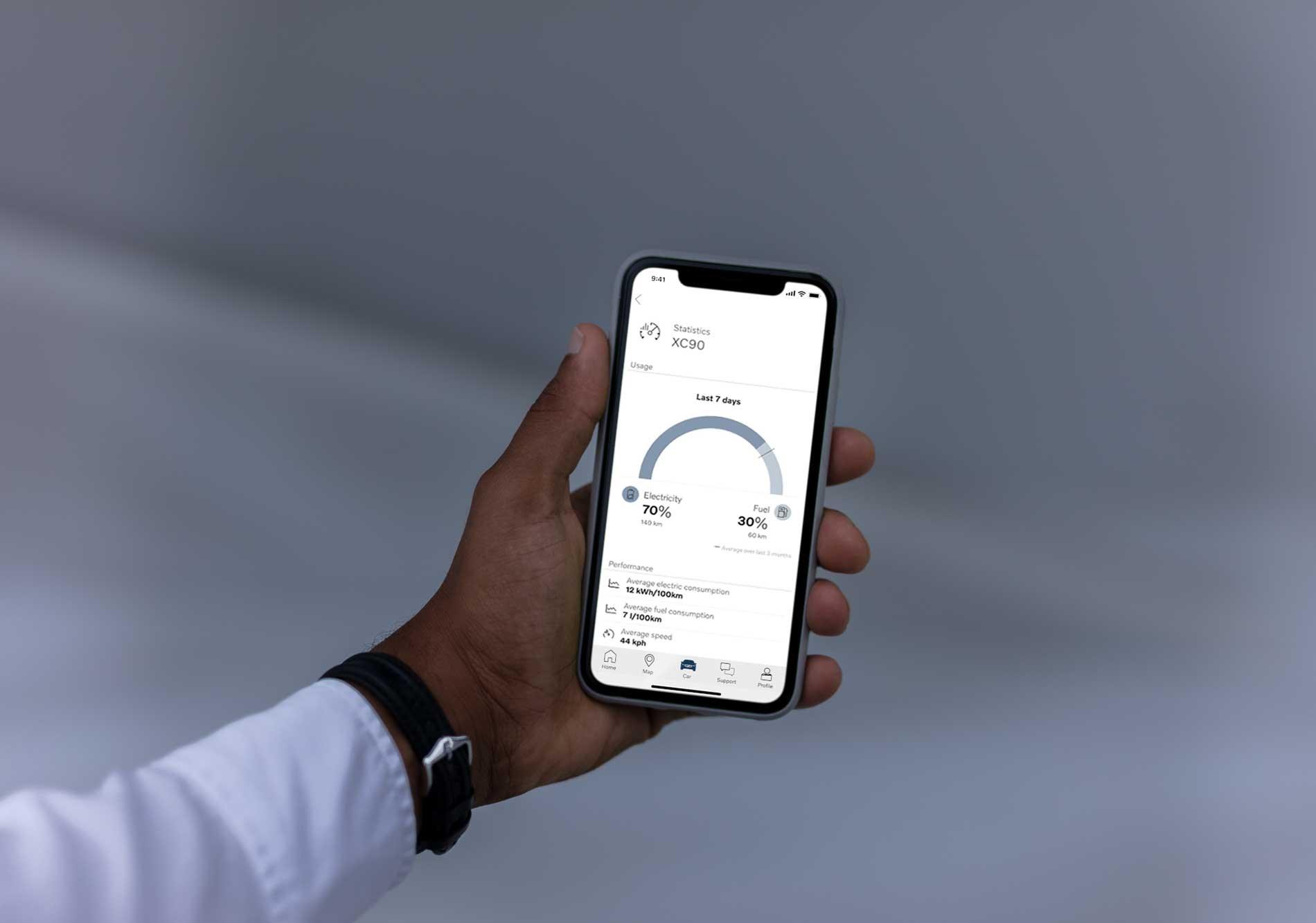 Van Houdt Volvo On Call-smartphoneapp biedt bestuurders van plug-inhybrides inzicht in hun elektrisch rijgedrag