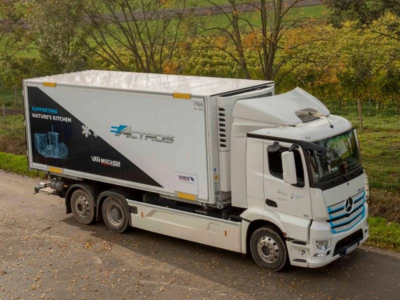 Elektrische Truck Mercedes-Benz op de Belgische wegen